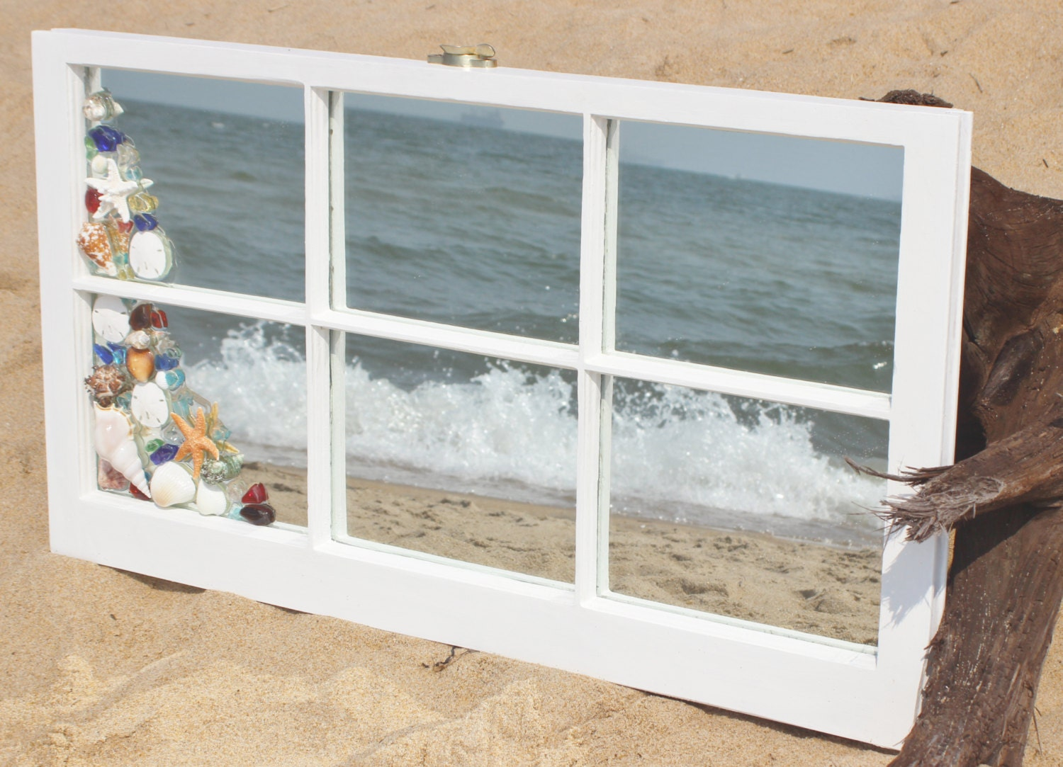 Antique beach mirrorbeach window pane mirrorsea glass Window pane mirror