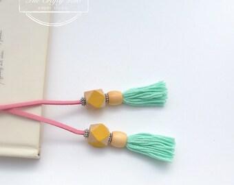 Mint/Yellow/Pink Tassel Bookmark