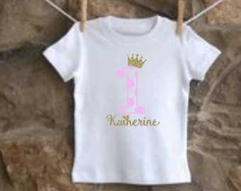 girls personalized crown princess birthday shirt vinyl custom