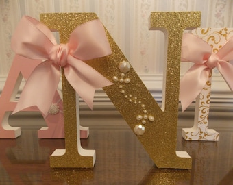 Free Standing Letters, Hanging Letters,  Gold Letters, Ballerina Letters, Baby Shower Gift, Nursery Letters, Pink & Gold Letters