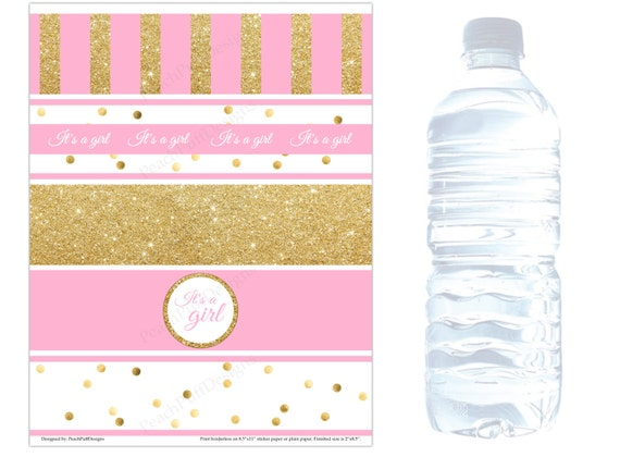 Vibrant image for free printable water bottle labels for baby shower