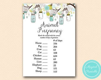 Animal Pregnancy Gestation game, Rustic Mason Jars Baby Shower, Baby Shower Games & Activities, Instant Download Games Printable TLC146