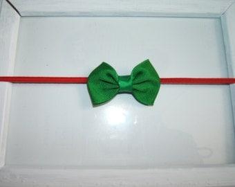 Baby Christmas Bow Headband, Petite Mini Green Bow Headband, Red Green, Girl Headband, Photo Shoot, 1st Christmas Bow Headband, Holiday