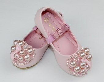 Light Pink Flower Girl Shoes/ Toddler Girl Shoes/Pearl Party Shoes/Bow Girls Shoes Little Toddler/Youth Girls Genuine Leather Soft Shoes