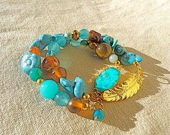 Turquoise Bracelet gold feather bracelet boho bracelet double stranded bracelet valentine gift for mom natural stone cuff beaded bracelet