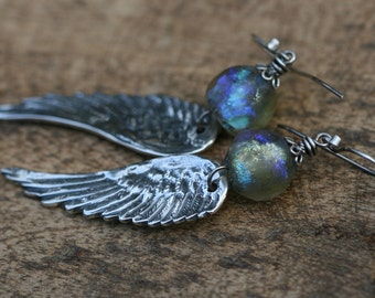 Rustic Solid Sterling Silver Angel Wings with Basha bead earrings a67 - Fine Bohemian Boho Religious . artisan earrings. large angel wings