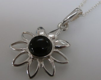 WHITBY JET Daisy Flower Sterling SIlver Pendant