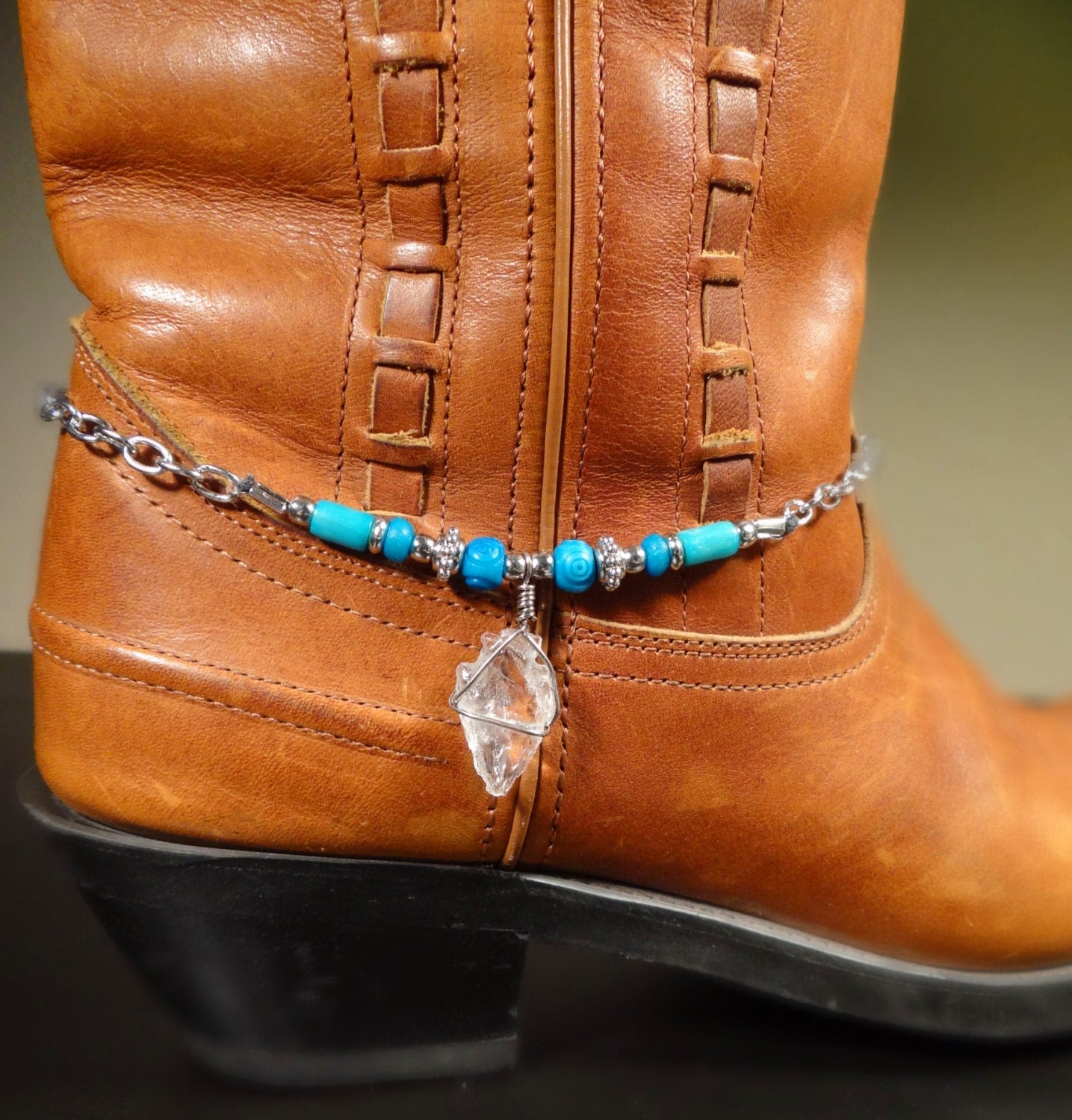 cowboy boot bracelet arrowhead turquoise and silver