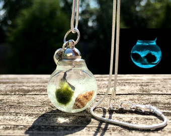 Glow In The Dark Marimo Moss Ball Necklace  / Live Terrarium Necklace / Wearable Plant Necklace / Plant Fashion Accessories
