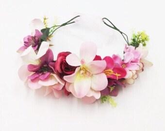 Fower crown, flower garland, girls flower garland headband, flower headband, garland