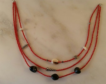 Multi Strand Red Seed Bead Necklace