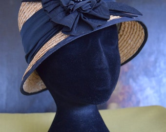 SOLD  -  1920's Straw Hat With Black Flower Detail.
