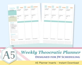 Weekly Planner JW Scheduling - Artsy Theocratic Planner -  Printable Inserts - A5 BLUE