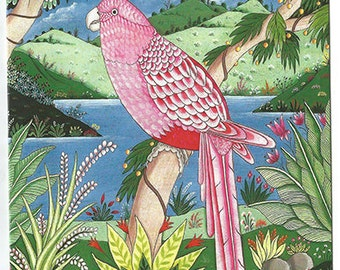 Pink parakeet. Fine art card