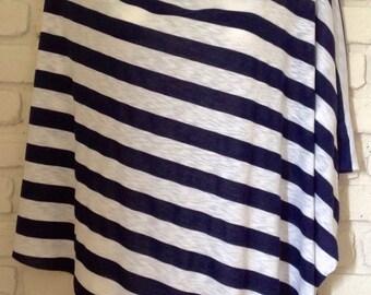 Nursing Cover Poncho (Navy/White)