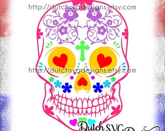 Sugar skull cutting file, sugar skull svg, cricut svg, silhouette cut file, Day of the Death svg, Dia de los Muertos, Dia de Finadosand