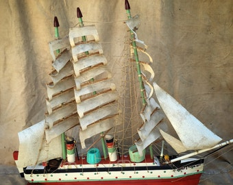 Vintage Folk Sculpture Ship Painted Wood Found Object USS Constitution // Beach House Decor