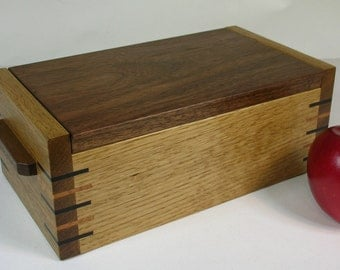 Oak and Walnut Box with Hinged Lid and Lift Out Tray