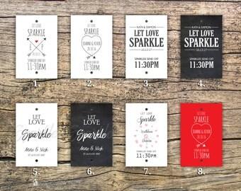 Sparkler Send off Tags for Sparklers, Sparkler Tags, sparkler sleeve, wedding matchboxes, sparkler exit