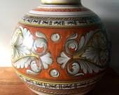 "Beautiful Vintage DERUTA Italy Dipinto A Mano Large Round Rust Orange Scroll Vase. 12"" X 13""."