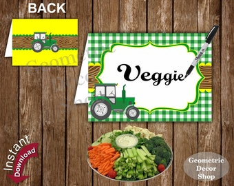 Tractor Food Tent Labels Birthday Buffet Name Dinner Green Plaid Yellow Instant Download timber Rustic FTT1