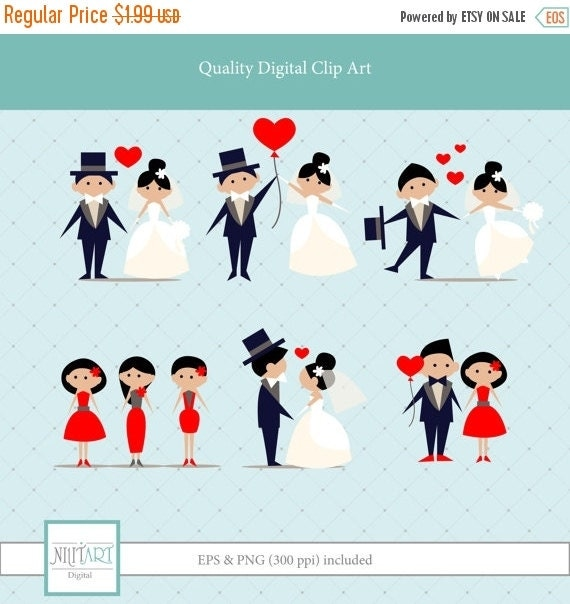50% OFF SALE Wedding Clipart, Love clipart, PNG Clipart, Scrapbook clipart, Scrapbook design, Bride and groom clipart, Anniversary Clipart,