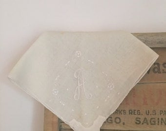 Vintage Embroided Initial A Handkerchief Heirloom