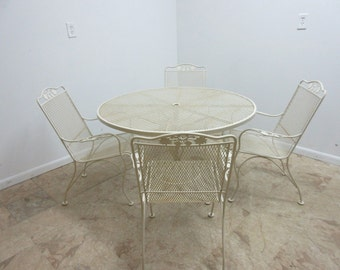 Vintage Woodard Outdoor Patio Porch Dining Room Table 4 Chairs