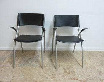 Pair Calligaris Leather Atomic Floating Arm Chairs A