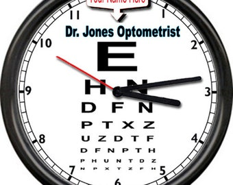 Personalized Custom Your Name On This Eye Dr. Doctor Chart Optometrist Sign Wall Clock