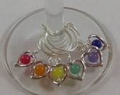 Set of 6 WINE Glass Charm MARKERS: Rainbow Glass Beads in Silver Plated Hearts - Gift Under 15 - GREAT Host/Hostess Gift for Parties