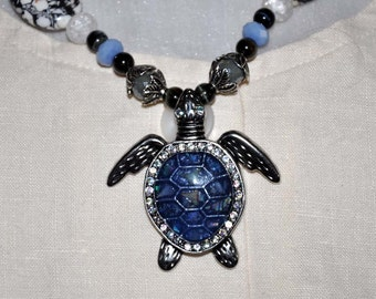 Turtle Necklace, Blue Turtle Pendant, Rhinestone Turtle, Rhinestone Pendant, Cobalt Blue Necklace, Turtle Jewelry, Blue Bead Necklace