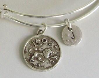 LEO Zodiac CHARM W/ Initial Adjustable Expandable Bangle Bracelet Aquarius Charm Bracelet  Gift - Under 20 Pick Your Sign  Usa Z1