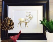 Caribou Art Print, Gold Foil Print, Wall Art home decor