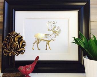 Caribou Hunting Decor Hunting Art Art Print Cabin Decor Gold Foil