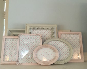 Shabby Chic Distressed Old White/Ballet Slipper Pink Picture  Frame Set