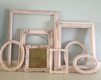 Pink Shabbi Chic Distressed Picture Frames , So This Is Love, Grouping of Vintage Frames