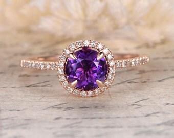1ctw Round Cut Amethyst Engagement Ring,Diamond Wedding Band,14K Rose Gold,Propose Ring,Anniversary ring,Purple Ring