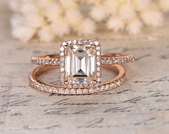 6x8mm Emerald Cut Moissanite Engagement Ring,2 rings set,Diamond Wedding Band,14K Rose Gold,Halo Design,Half Eternity,Wedding Bridal Set