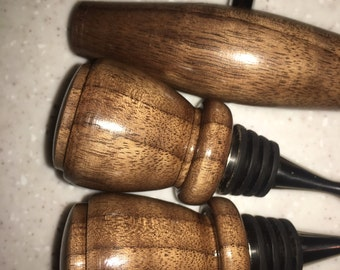 WINE stoppers and Cork screw set.  Made in Northern California.  Walnut.  Unique.  Handcrafted.  GREAT gifts!