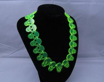 Laser cut neon skull necklace