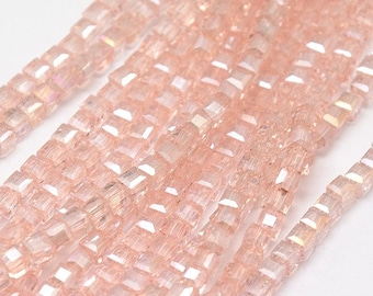 Faceted, Cube, Pink Beads