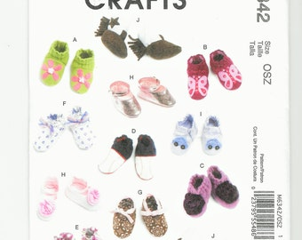 McCall's Crafts  M6342, Baby Shoes, Boots,  Infants'  Soft Shoes, Baby Pattern, Infant's Pattern, Sewing Patterns for Babies, UNCUT, NEW