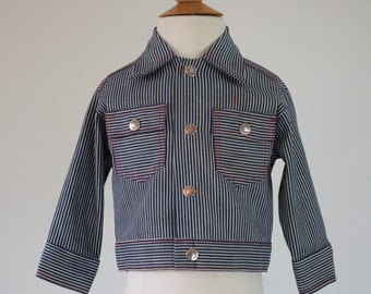 Vintage Boys Denim Shirt Jacket / Size 24 Months / Size 2T / Health-Tex Light Denim Jacket / Toddler Striped Denim Shirt / Boys Denim Jacket