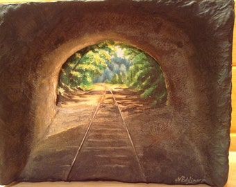 Light at the End of the Tunnel - Train tracks out the tunnel Acrylic painting