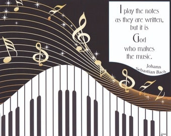I Play the Notes Bach Quote Framable Print
