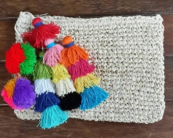 Multi tassel raffia clutch , multi colour tassel wallet, raffia beach purse