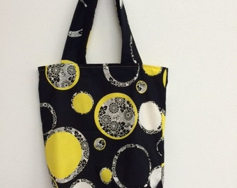 black and yellow tote