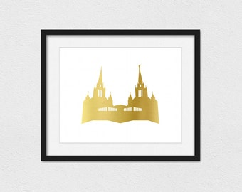 San Diego Temple Print // Instant Download // Printing Services Available // Faux Gold // LDS Temple Print // Gold Temple // Custom