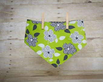 Dog Bandana, Green Flowers/Circle Stripes- Reversible Snap-on Pet Bandana